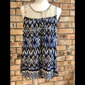 Blue and off-white pattern sleeveless top